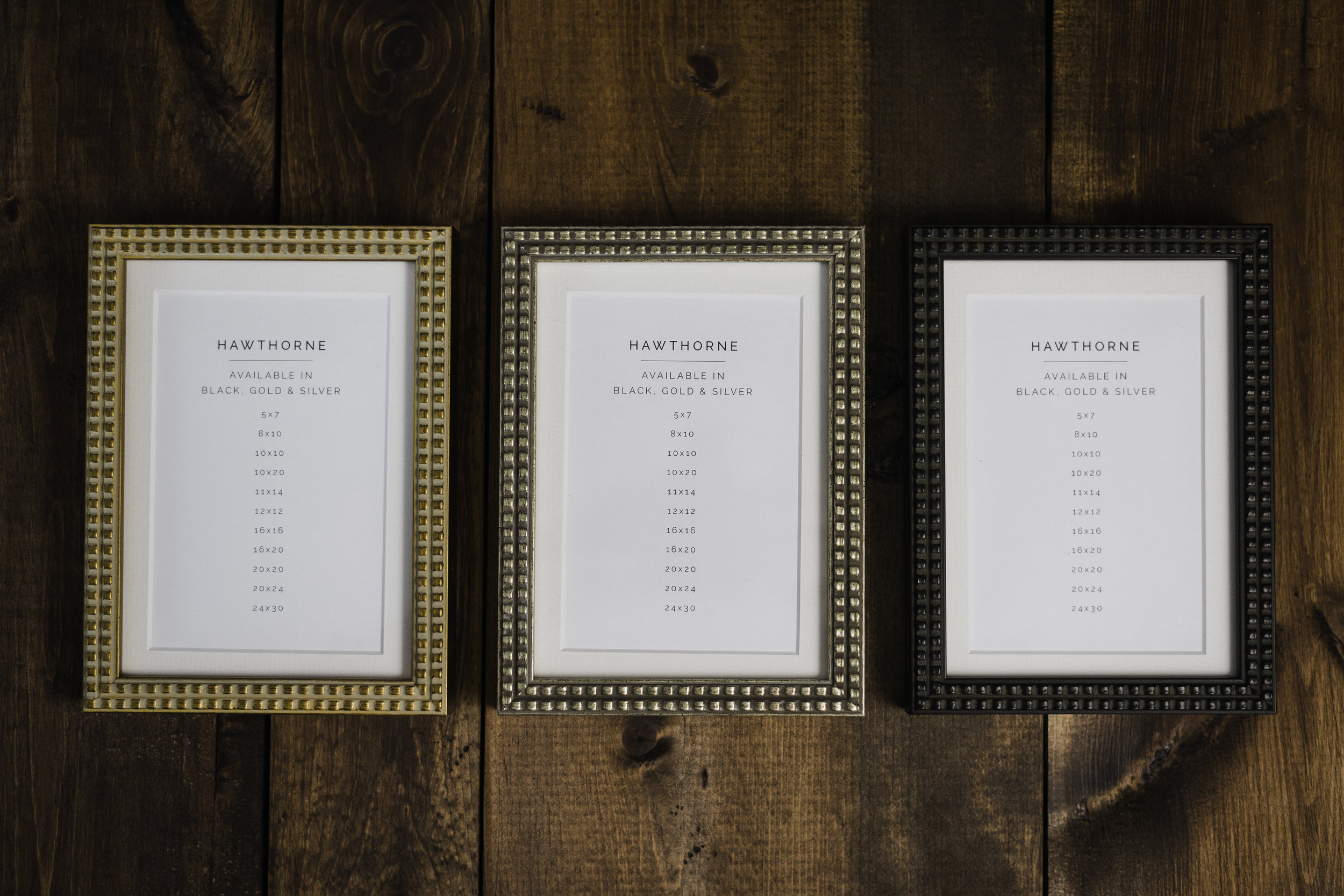 Gold, Black and Silver finish options of the Hawthorne frame collection for 2018 wedding collections with Sisi Connor Photography