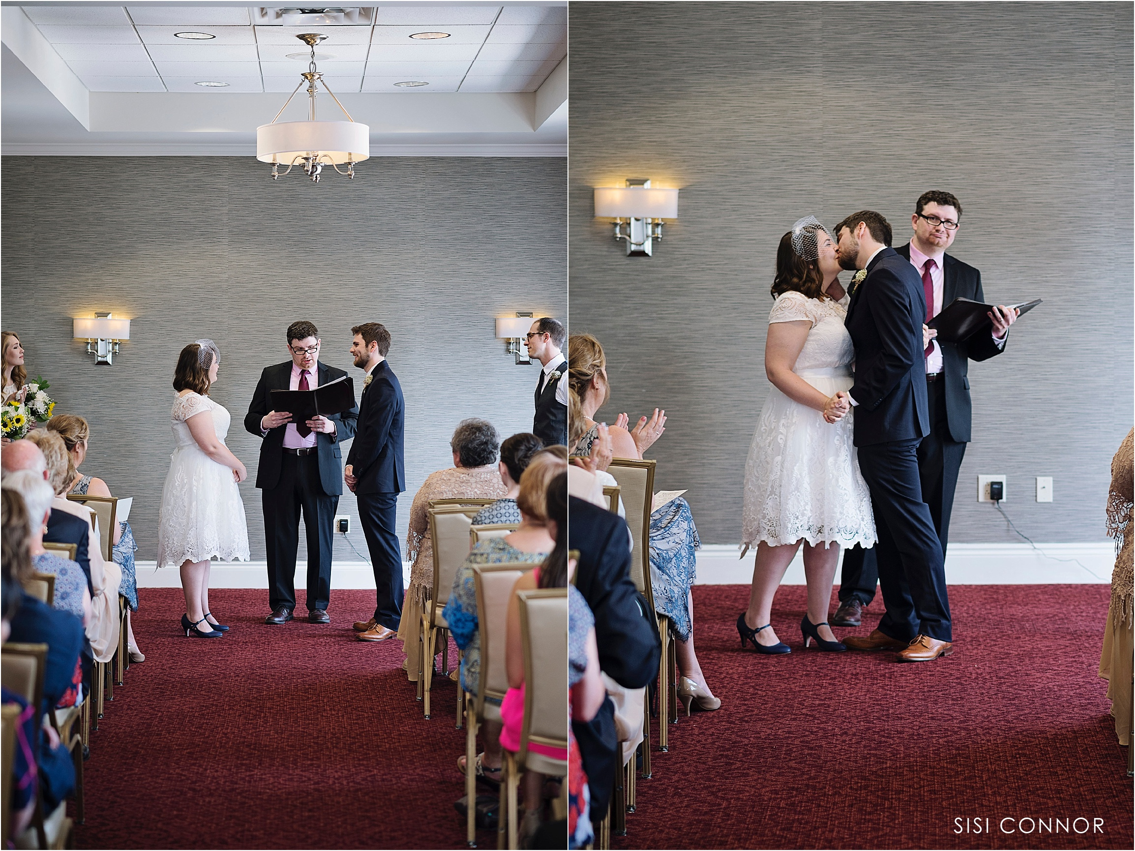 Hotel Blackhawk ballroom wedding ceremony