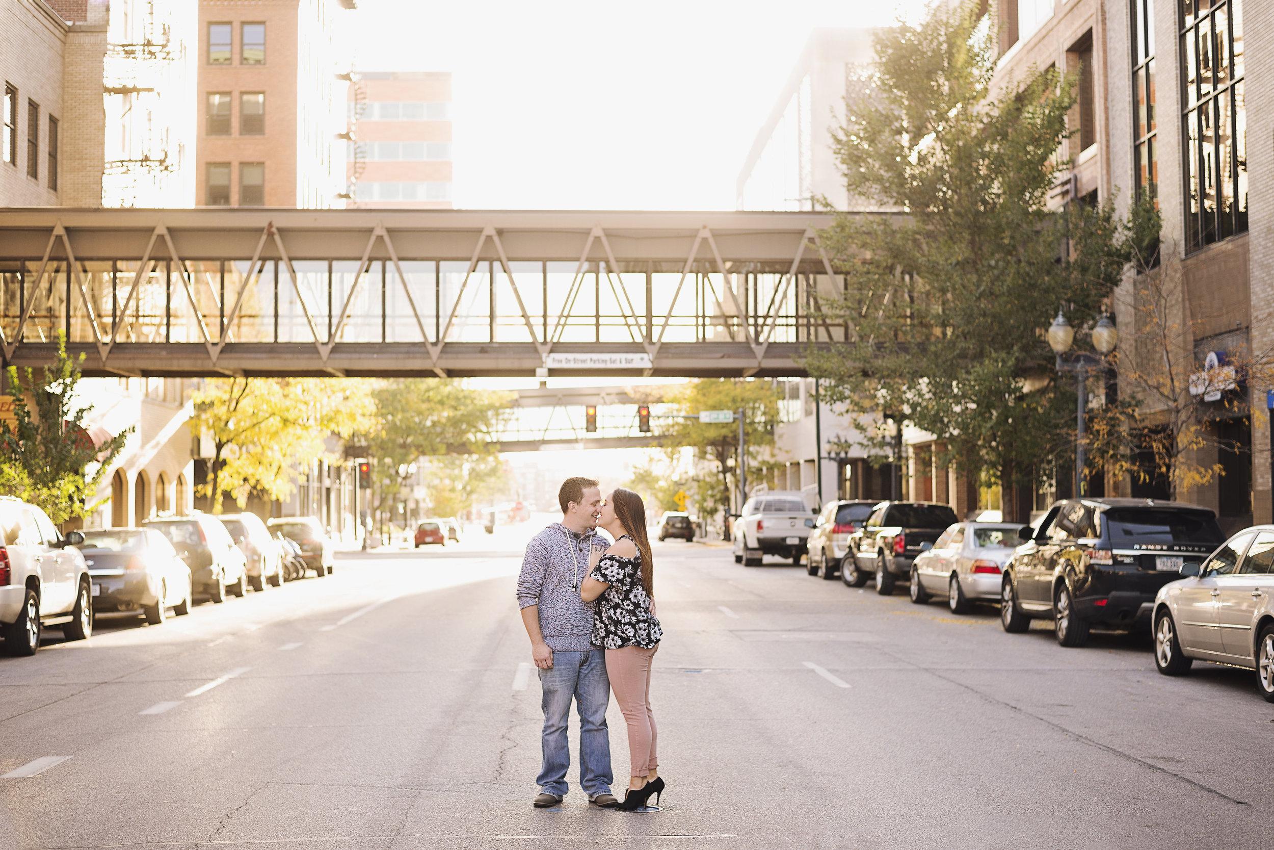 Downtown Cedar Rapids Engagement | Iowa Wedding Photographer