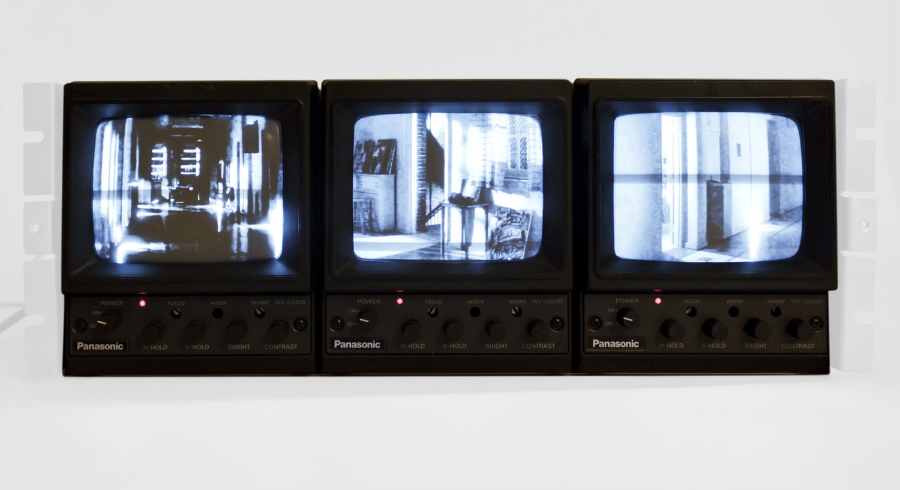 "South Bell, Video On Cctv Monitor Set, 11 × 17 × 7"", 2015"