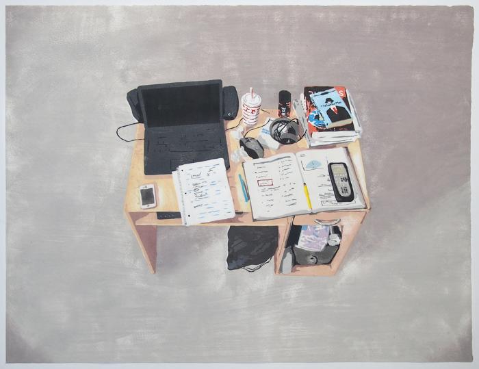 "Kevin Frances,  Lucas's Desk , 2014, Japanese Woodblock Print, 22"" x 30"""