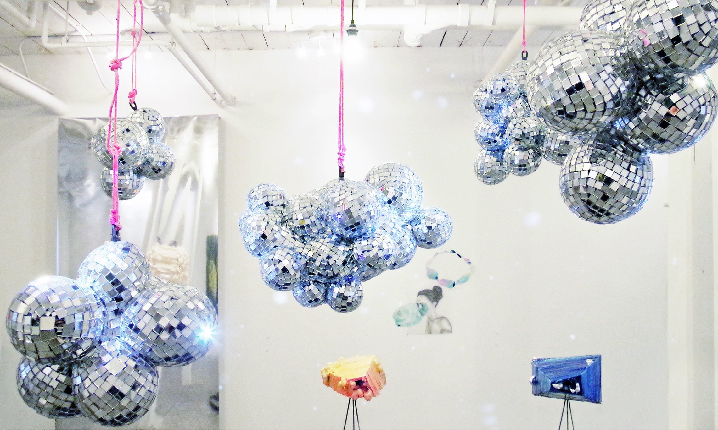 8. Super Cloud Spectro-Disorient by Leah Piepgras. Epoxy resin, silicone, mirrors, steel, motors, pin lights, rope, glass beads 2014.jpg
