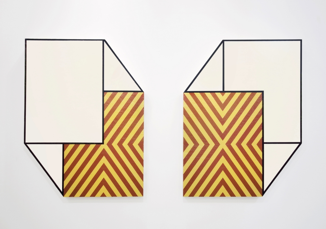 Santa Fe II  and  Santa Fe III , 2015, Acrylic and Lacquer on Plywood, 48 × 36 × 3 in