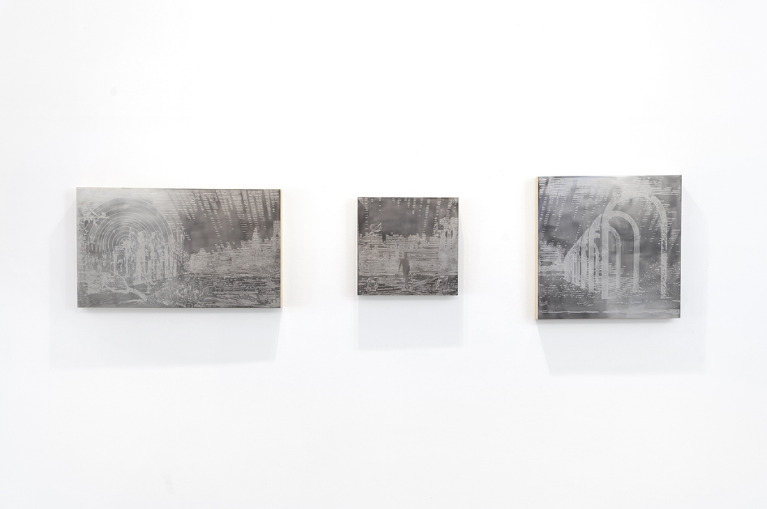 Sadder Path of Pastoral Apollo,  Etched Stainless Steel Mounted on Poplar Frame, 2015