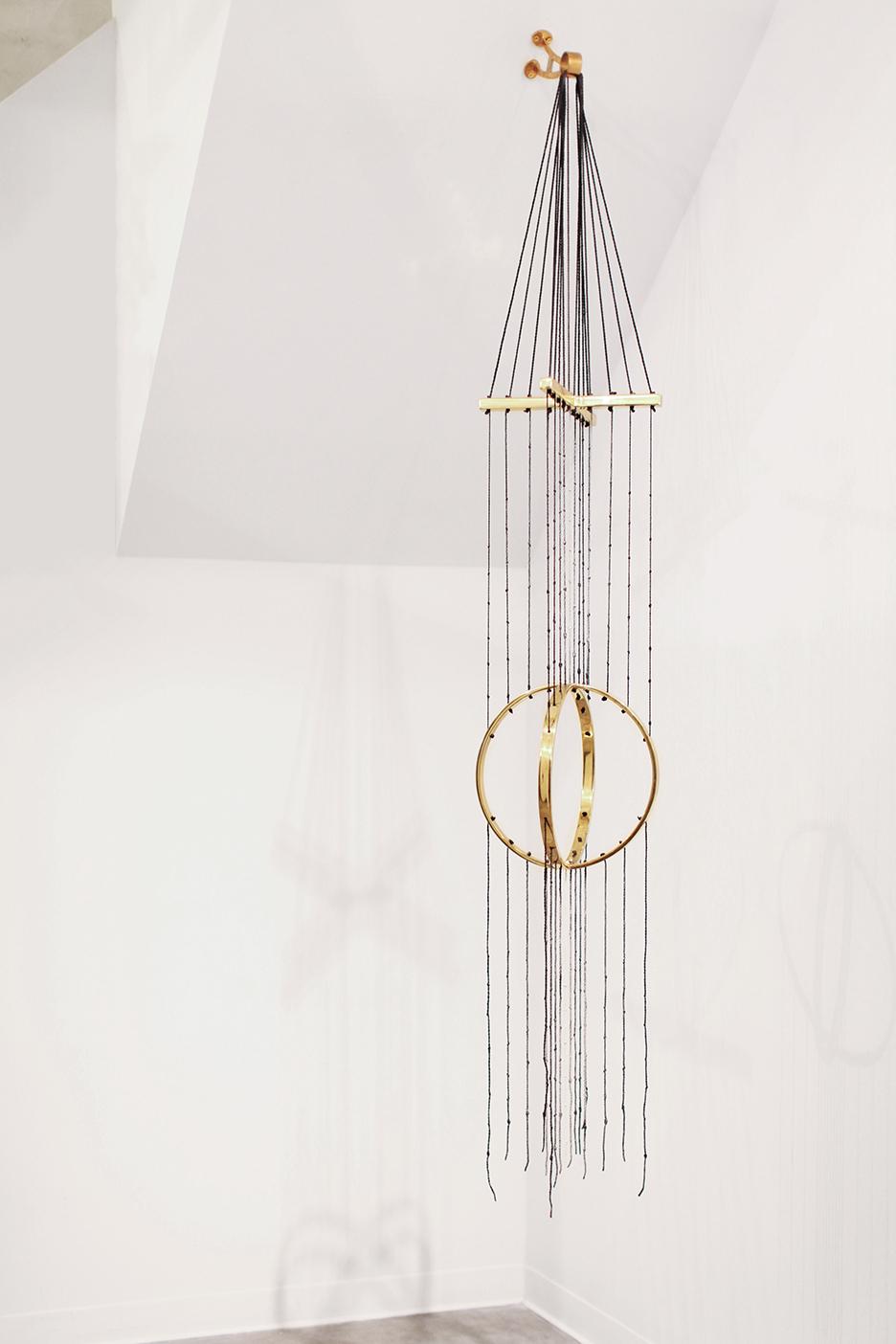 Steven Pestana , Khipu (Archæometric Reckoner) , Cast Brass, Rope, Ink 2015