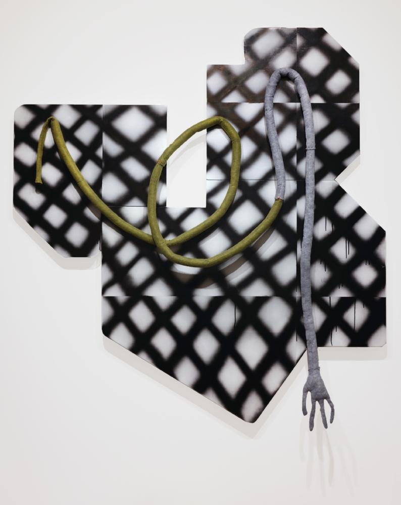 """Aborophilia, Acrylic on panels & felt. 60"""" x 54"""", 2016"""
