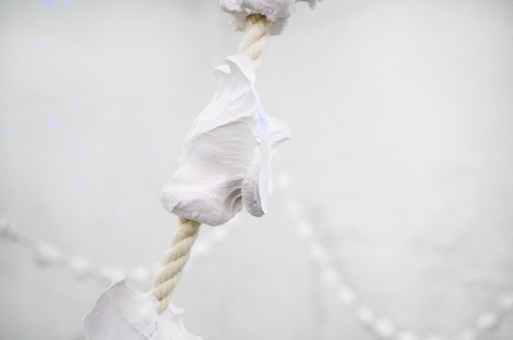 Holding Space(Prayer Necklace) Cotton rope, plaster 39 ft, 2016 detail 01.jpg