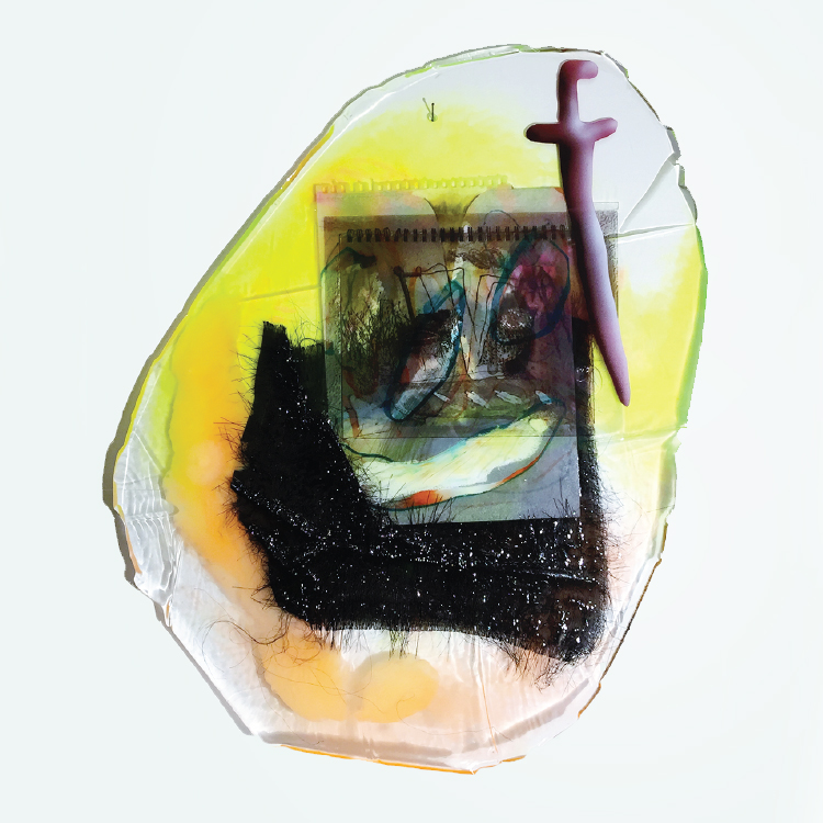 Hidden Comfort, 2016-17. Fabric, dyed cast epoxy, drawing, transparency, synthetic polymer 18 x 24 in