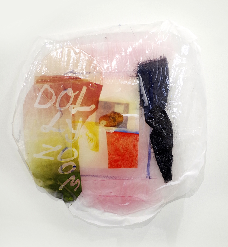 Dolly Zoom, 2016-17. Fabric, dyed cast epoxy, drawing, postcard, spray paint 27 x 27 in