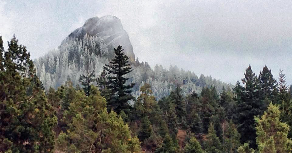 Snow on Pilot Rock. Jed Holdorph Photo
