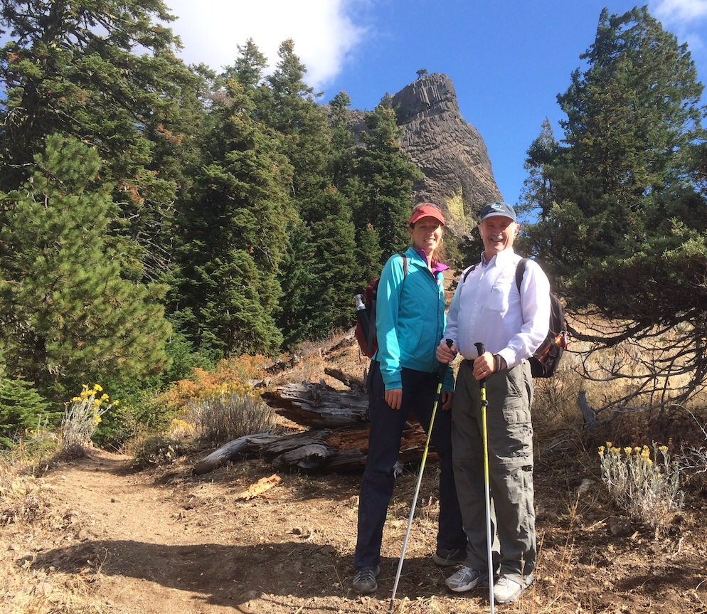 Mackenzie Banta, Sr. Development Assiociate with Conservation Lands Foundation and Terry Dickey, Chair of Friends of Cascade Siskiyou National Monument, hike a re-designed trail to Pilot Rock on National Public Lands Day 2014.  W Chin photo.