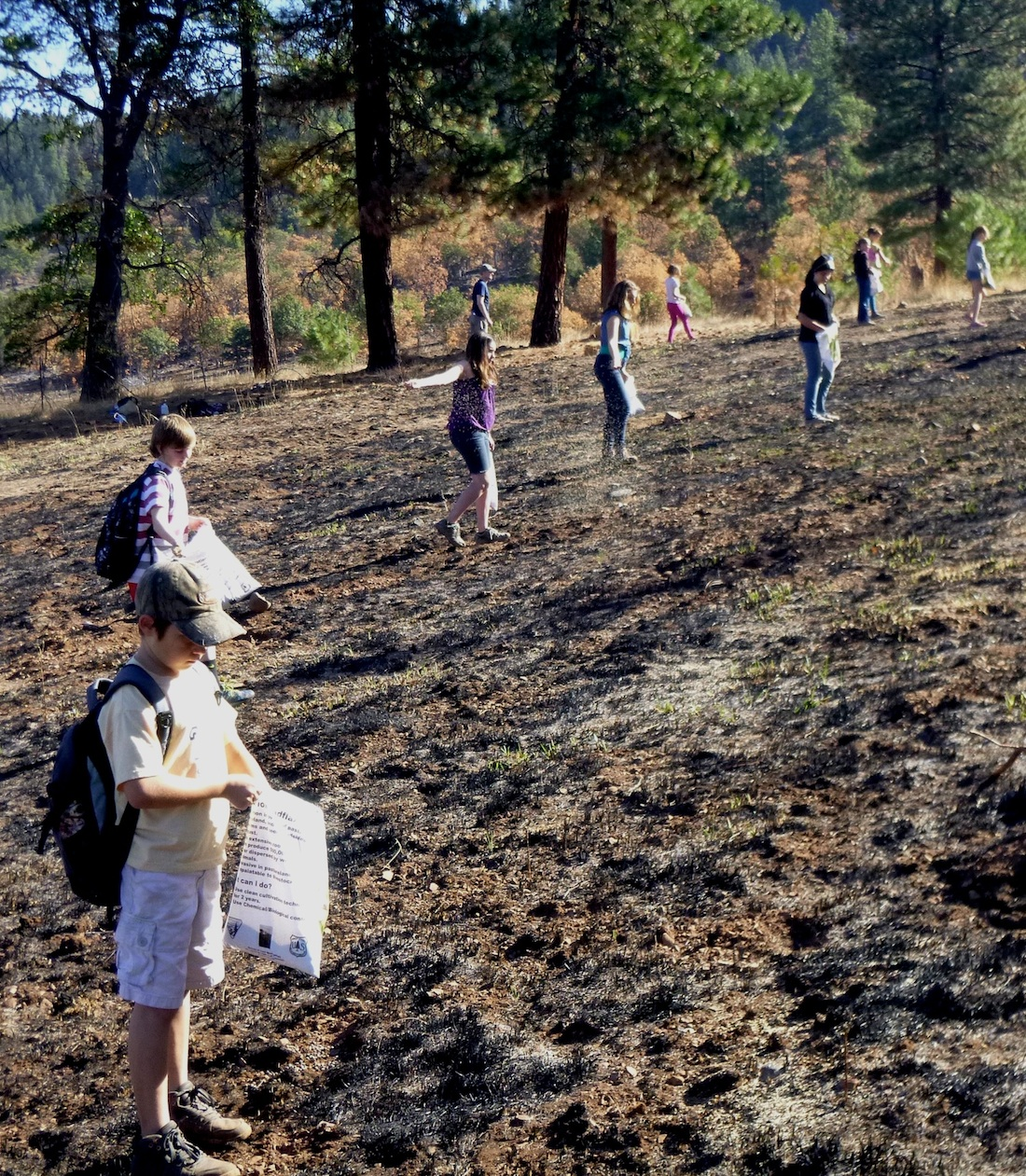 Pinehurst students plant seed after 2014 Oregon gulch fire in cascade-siskiyou national monument. Image courtesy of Jim Impara. Pinehurst school is located within the cascade-siskiyou national monument.