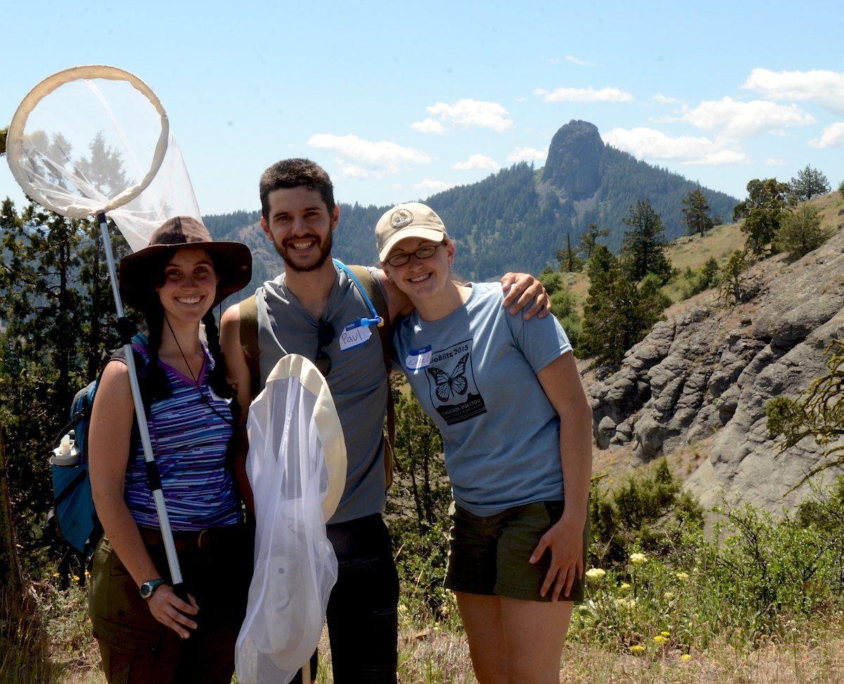 Southern Oregon University Students surveyed butterflies at Boccard Point, with a view of Pilot Rock.