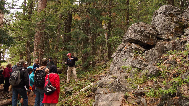 Geologist Jad D'Allura shows us the rock beneath the Monument's biodiversity.