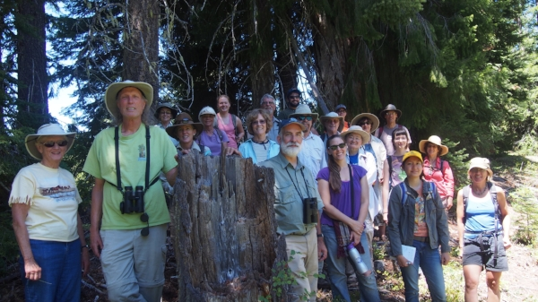 SOU professor,  Dr. Michael Parker  (center front), leads Hike and Learn group to Parsnips Lakes.
