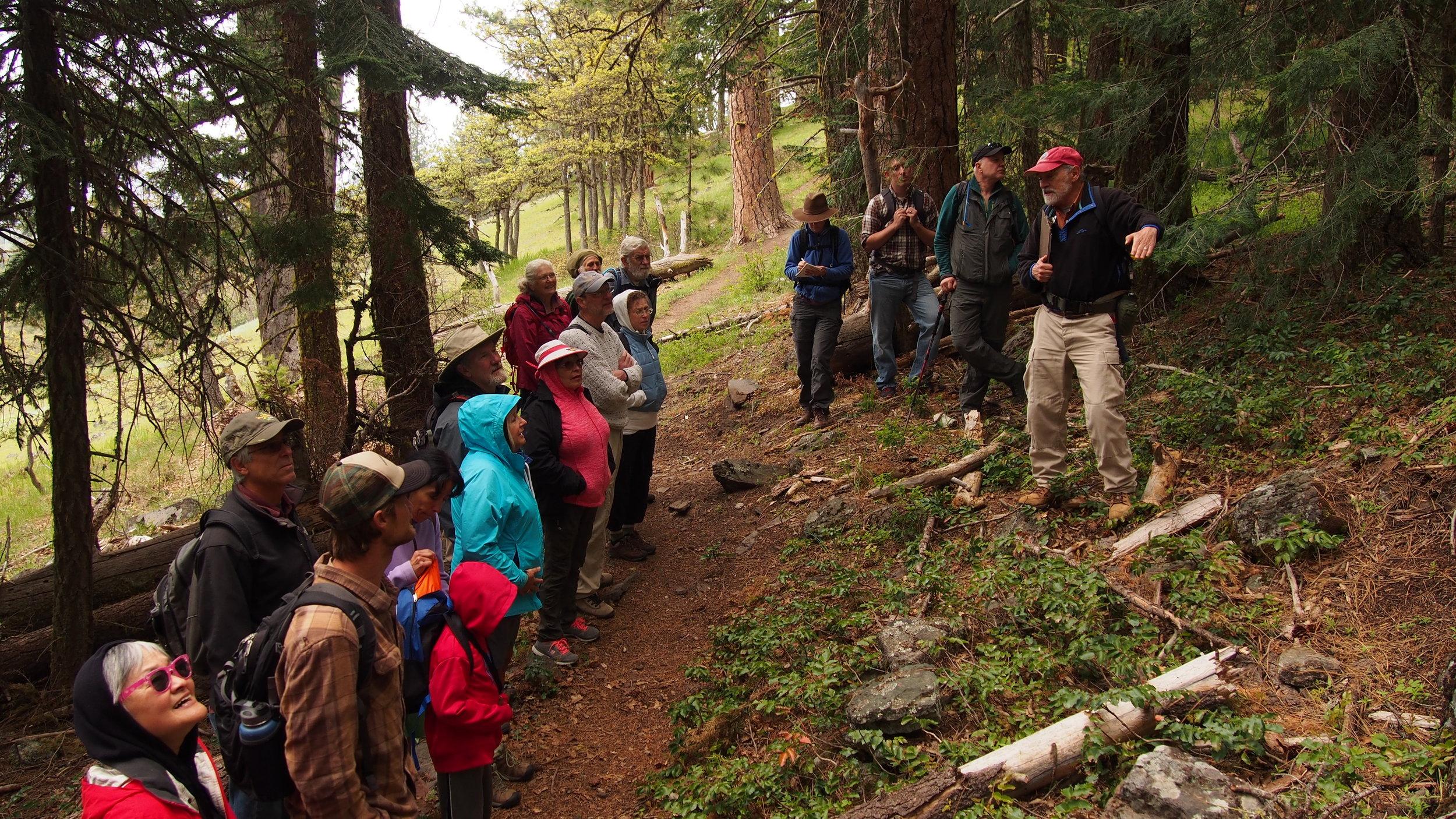 Jad D'Allura (r) explains the tilting of Greensprings Mountain