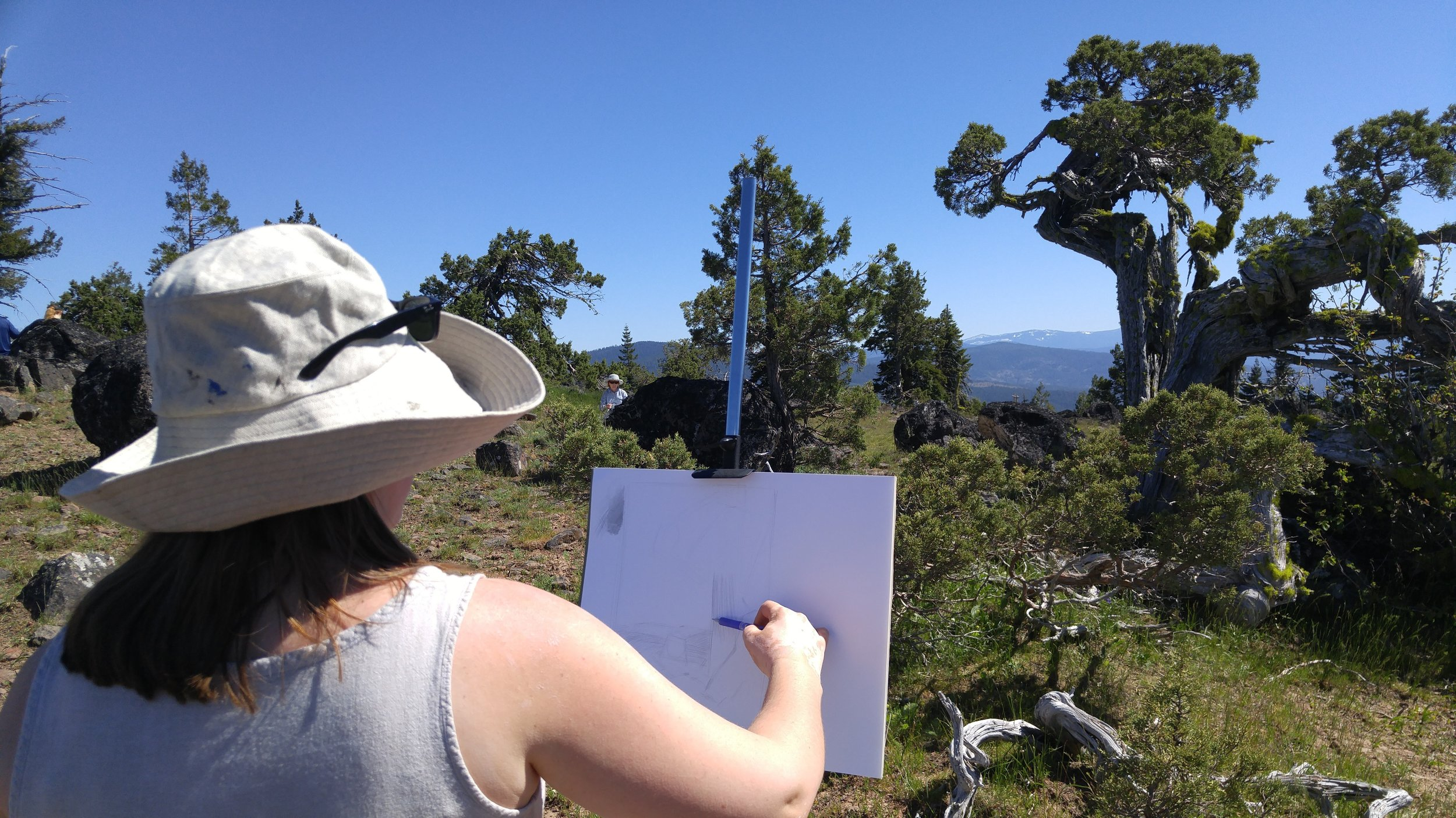 Sarah Burns demonstrates sketch at her easel.