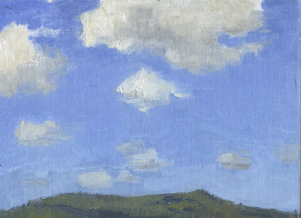 Grizzly Peak and Cumulus Clouds.  Painting by Sarah Burns