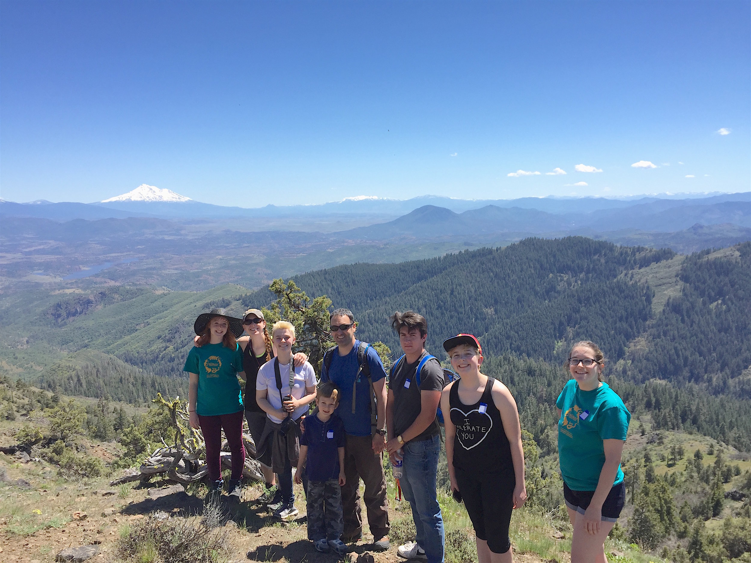 BioBlitz 2017 - Crater Renaissance Academy participants at Boccard Point, with Mt. Shasta Vies. Caroline Burdick photo.
