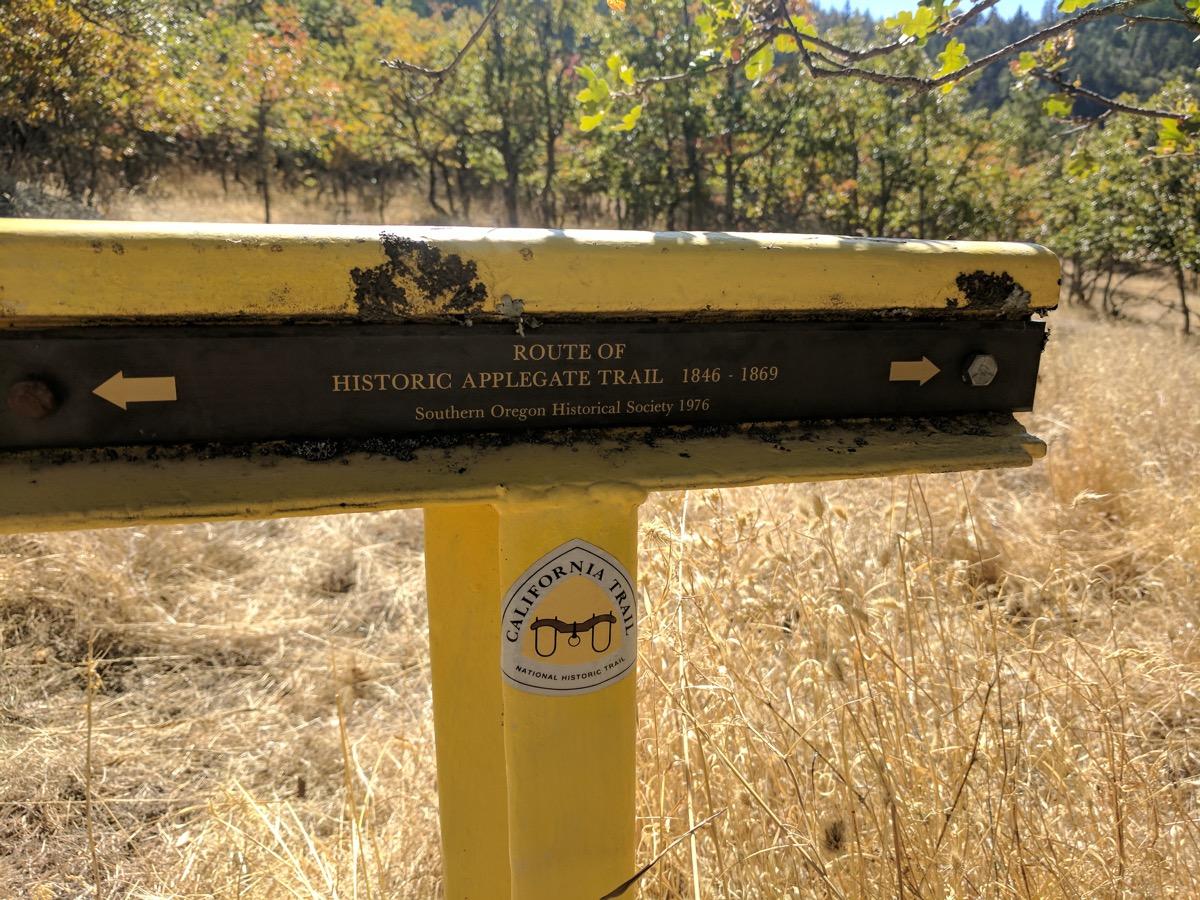 Applegate Trail marker near Tyler Creek Road