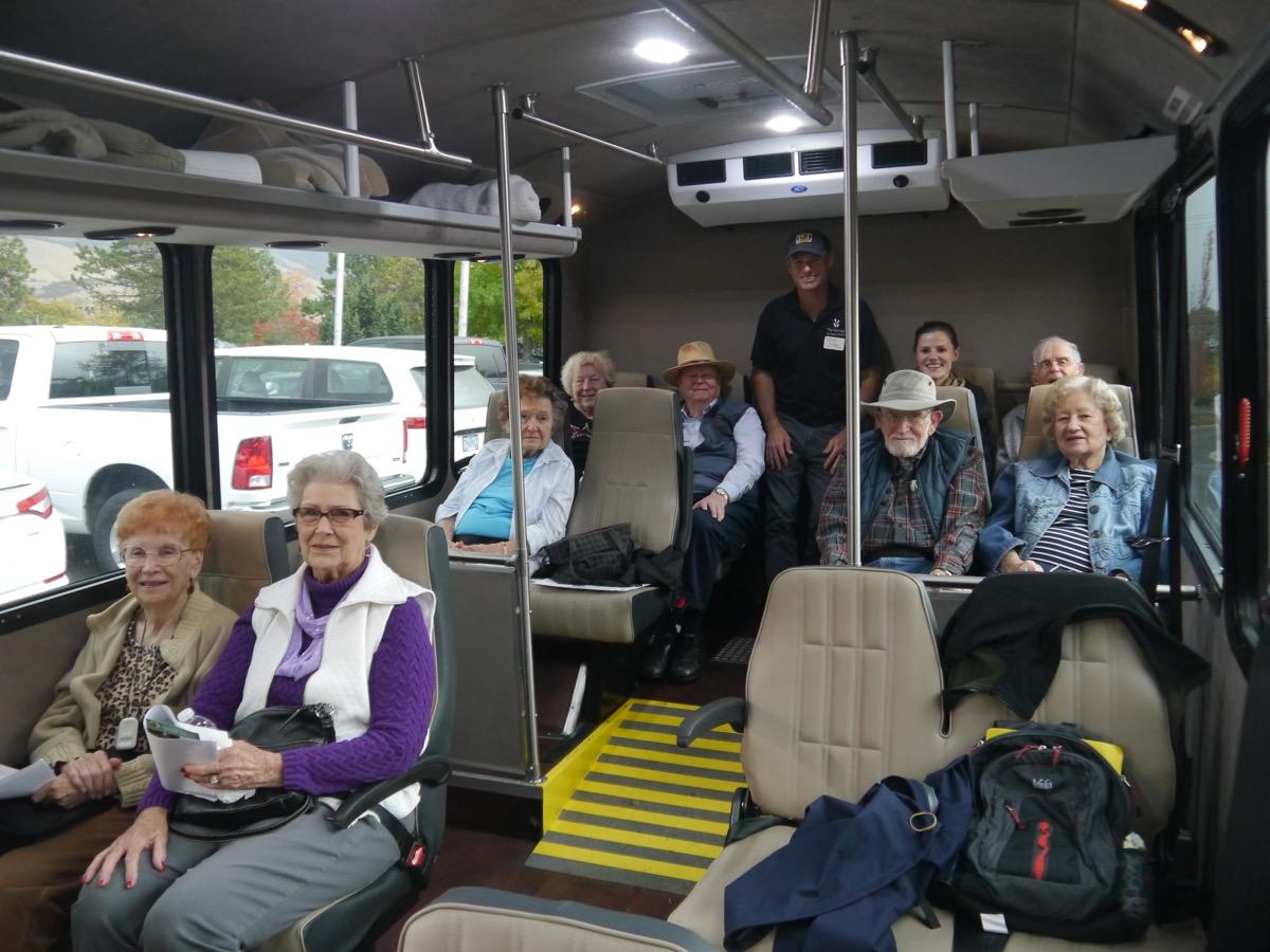 Bus tour participants