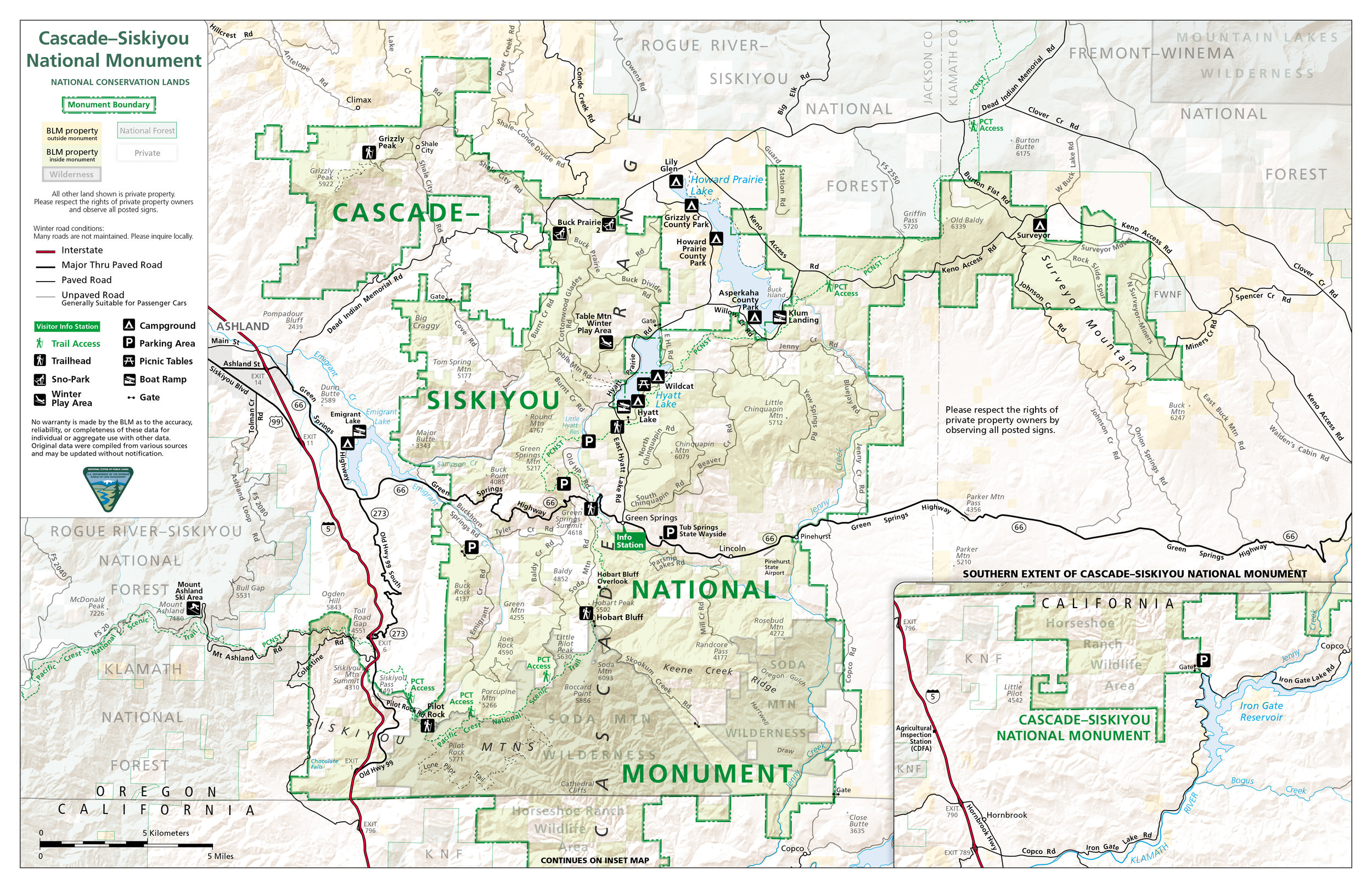 Download this  printable map (PDF)  of Cascade-Siskiyou National Monument.