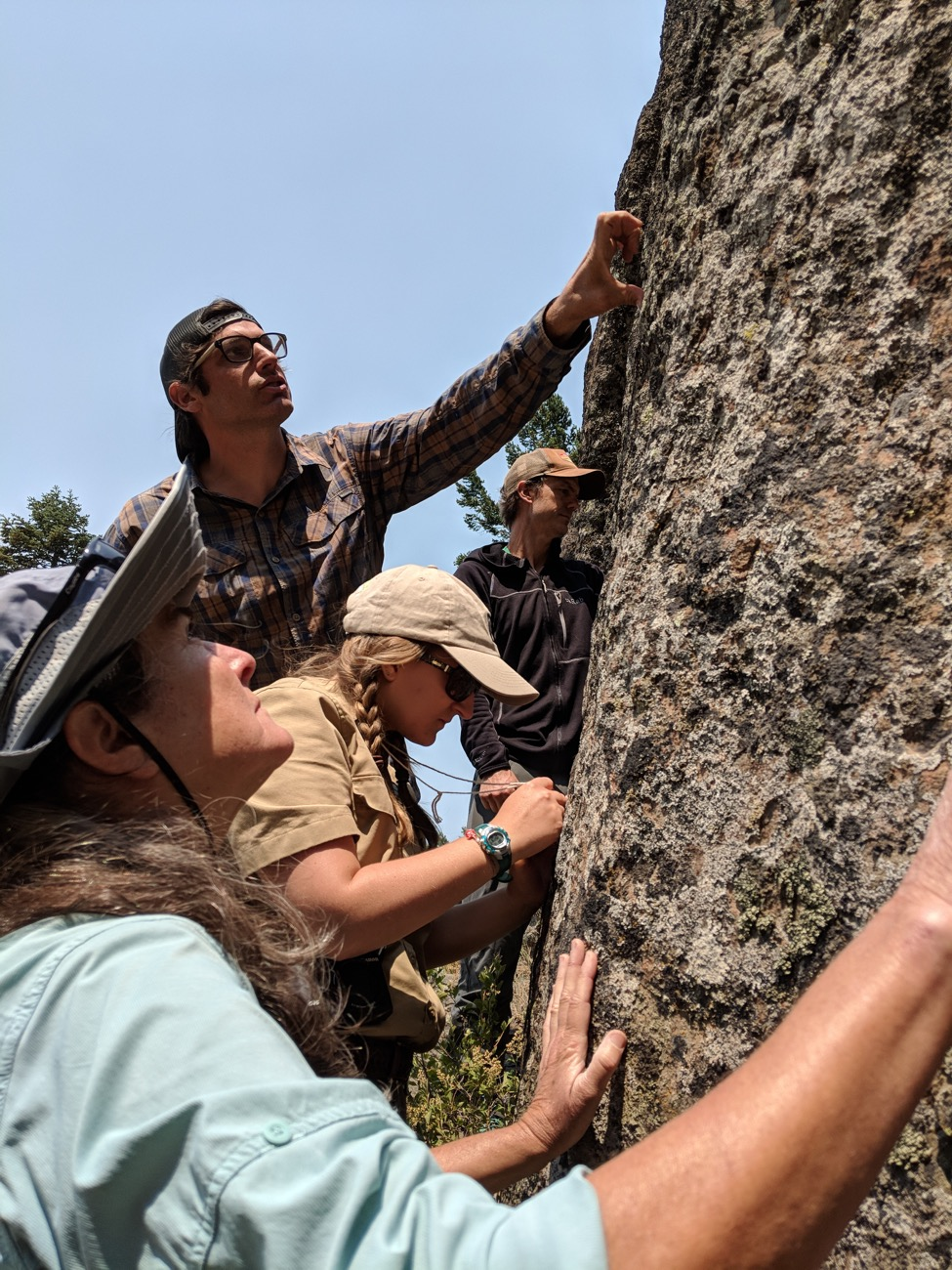 John Villella pointing out a diverse array of lichens.