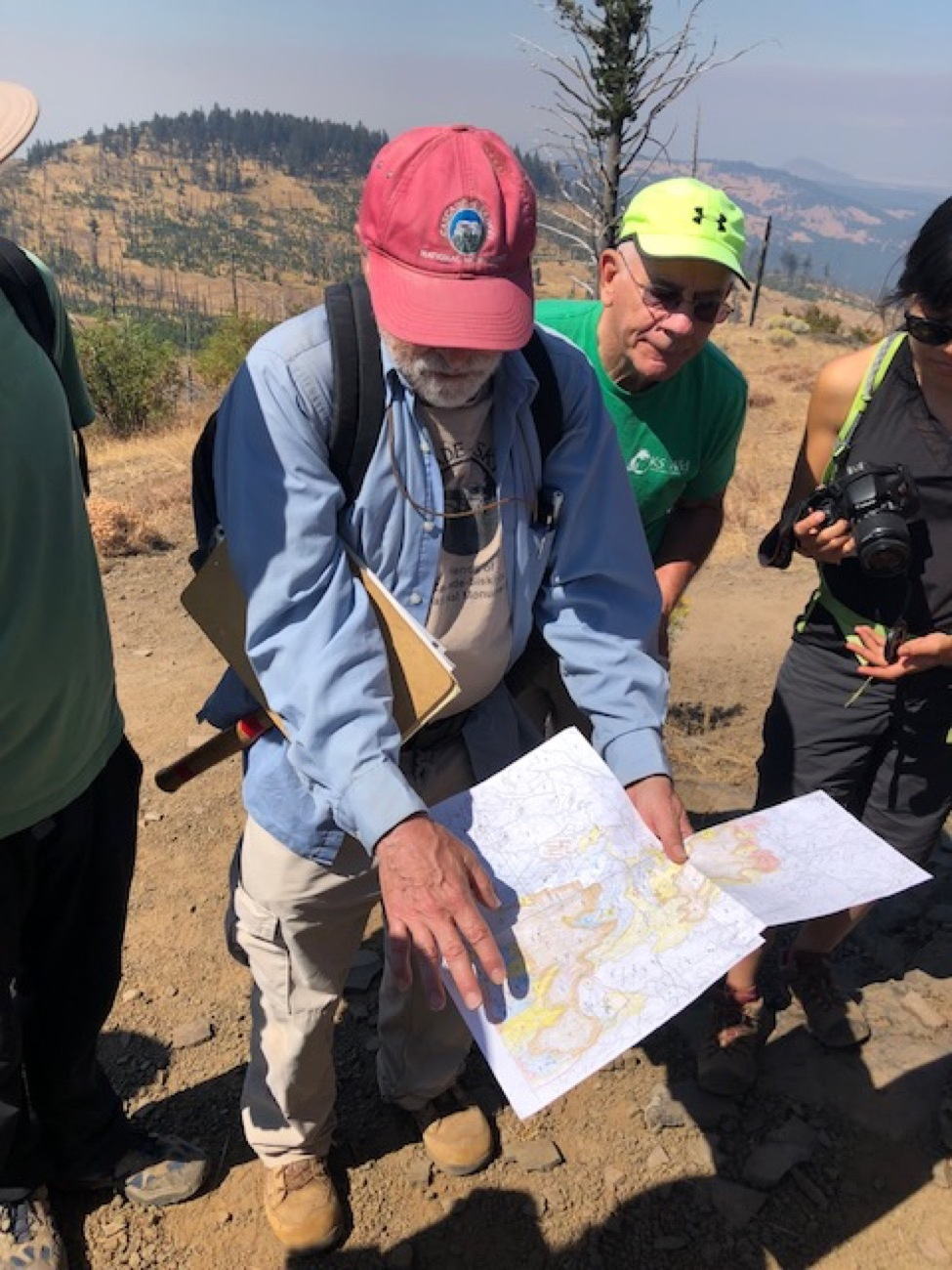 Jad D'Allura shares a map of the area where each color represents a different geologic unit. Terry Dickey photo