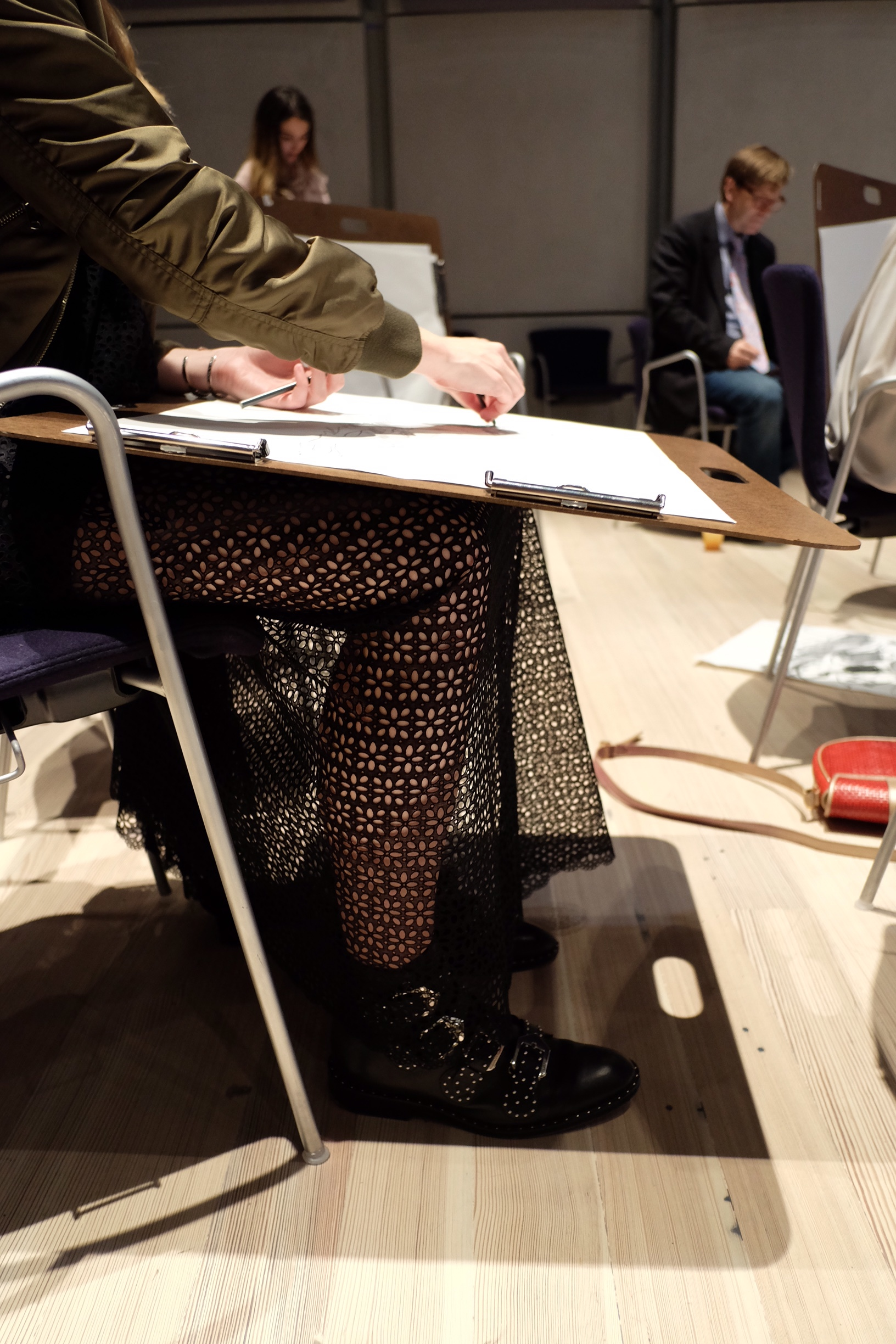 Details + figure drawing at the Whitney Member's Night.