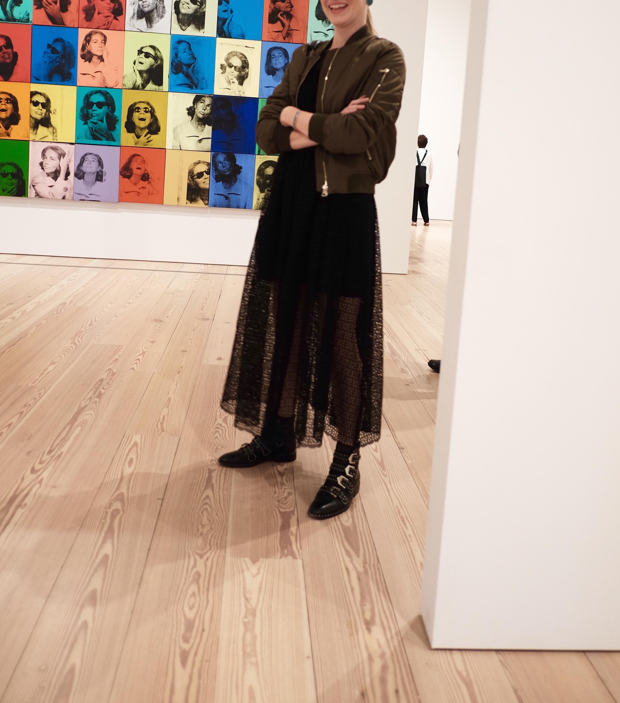 Eyelet dress + Andy Warhol.