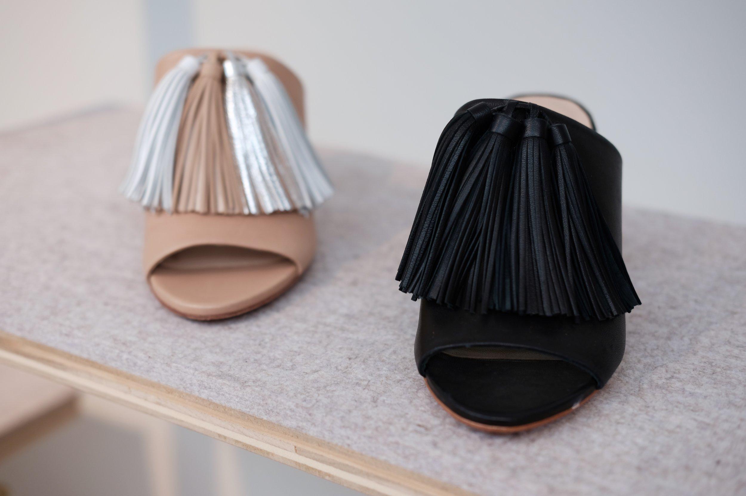 Clo Tassel Slide in Wheat + Black.