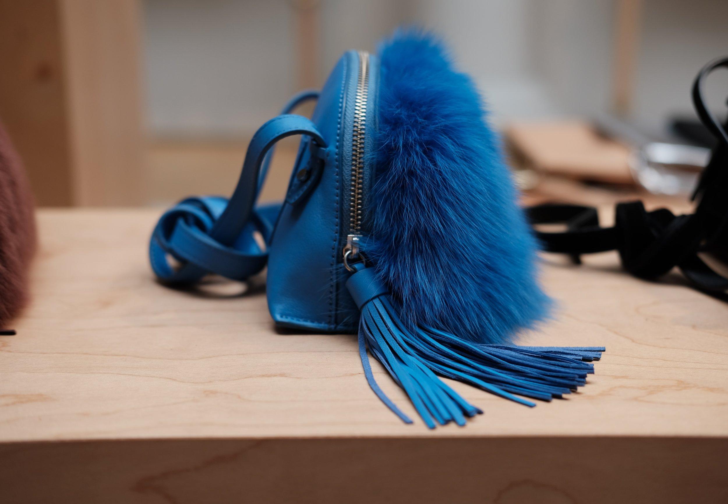 Crossbody Pouch in Bright Blue Fur.