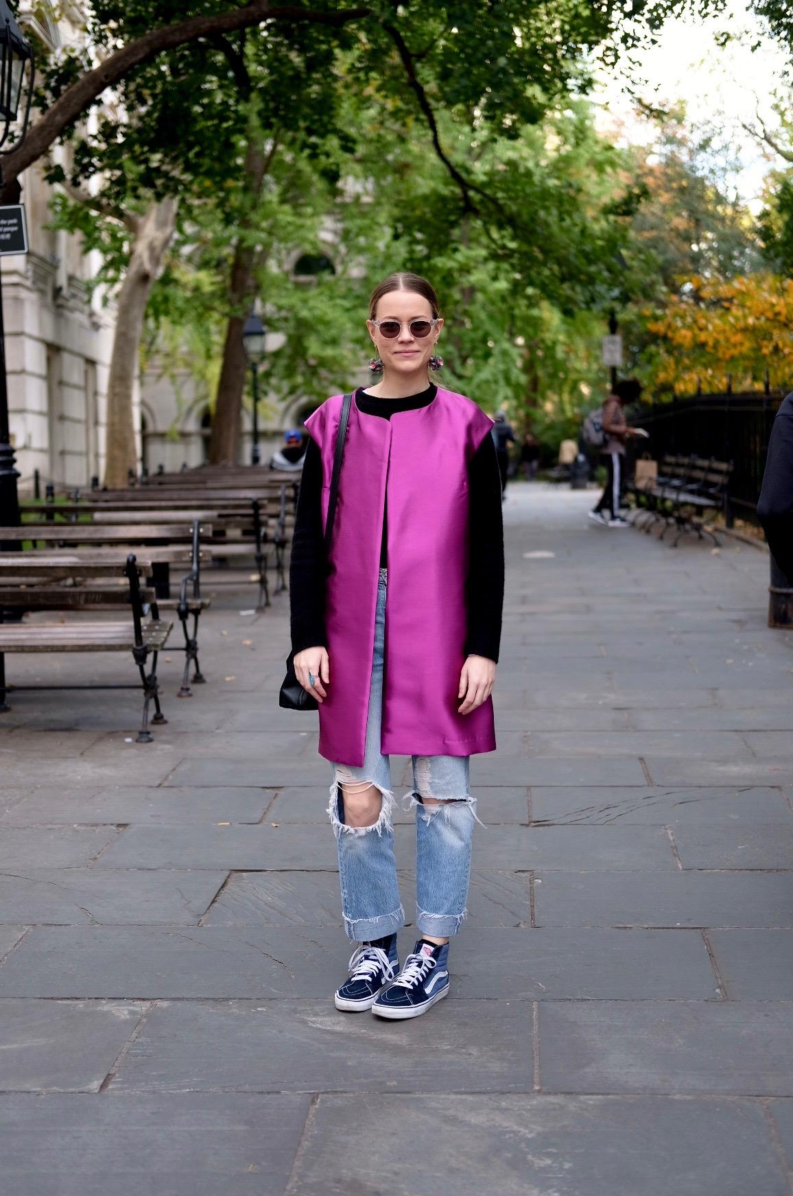 Downtown NYC.Silk wool vest,  Mood Fabrics, J.Crew  cashmere sweater , Levi's  vintage jeans , Vans  old school   high-tops,  Alexander Wang  bag , Moscot  sunglasses ,J.Crew  earrings .