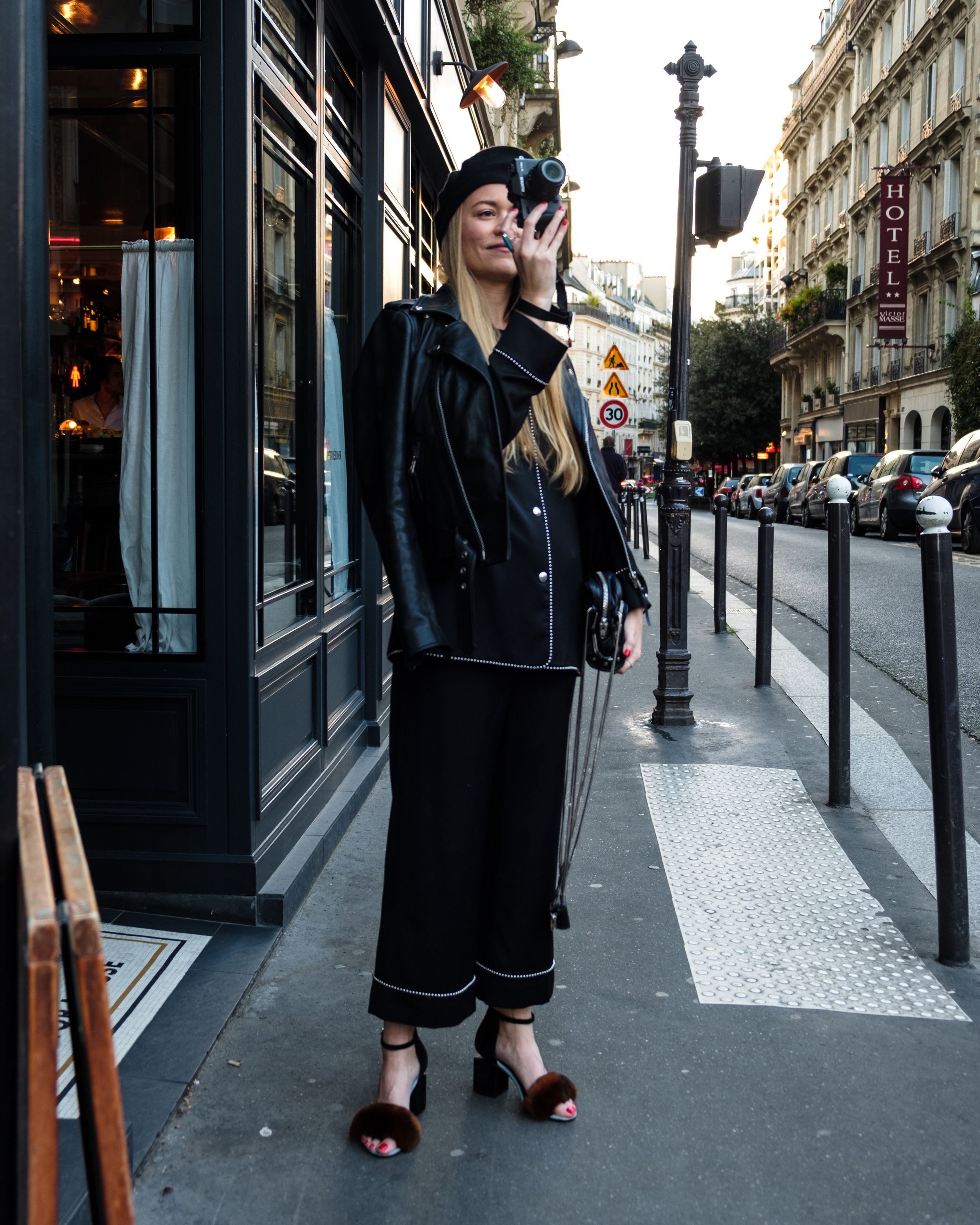 Beret ,  Anthropologie .  Leather Jacket,   BH & BR .  Pajama Jacket, Pants, and heels and bag,   Alexander Wang .