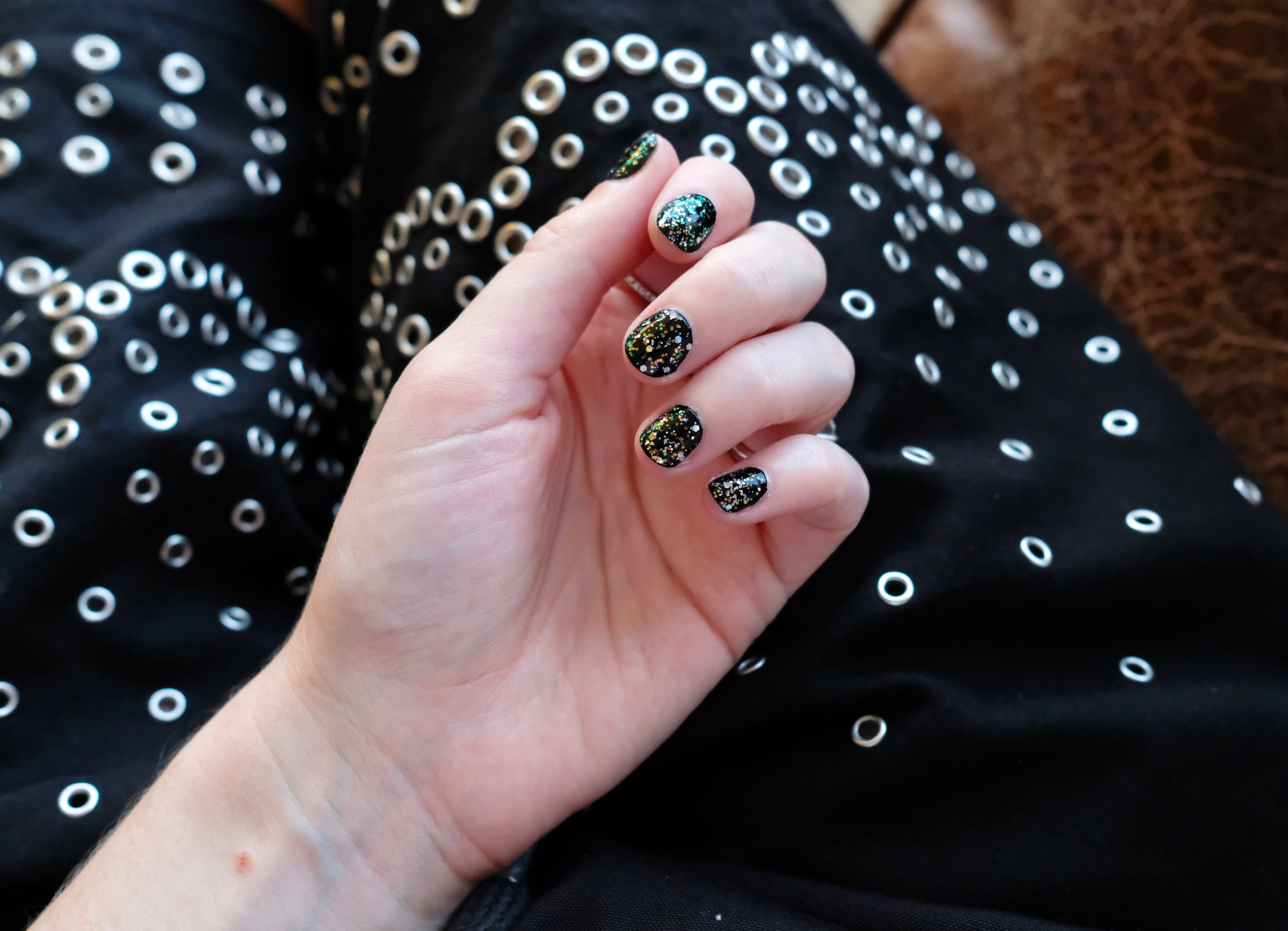 JINsoon Absolute Black  layered with  Absolute Glitz  from the new Monochrome Collection.