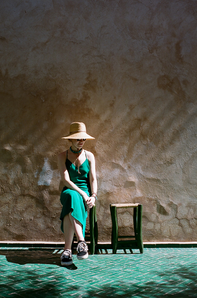 Reformation dress, J.Crew hat, Ray Ban sunglasses, Vans sneakers.