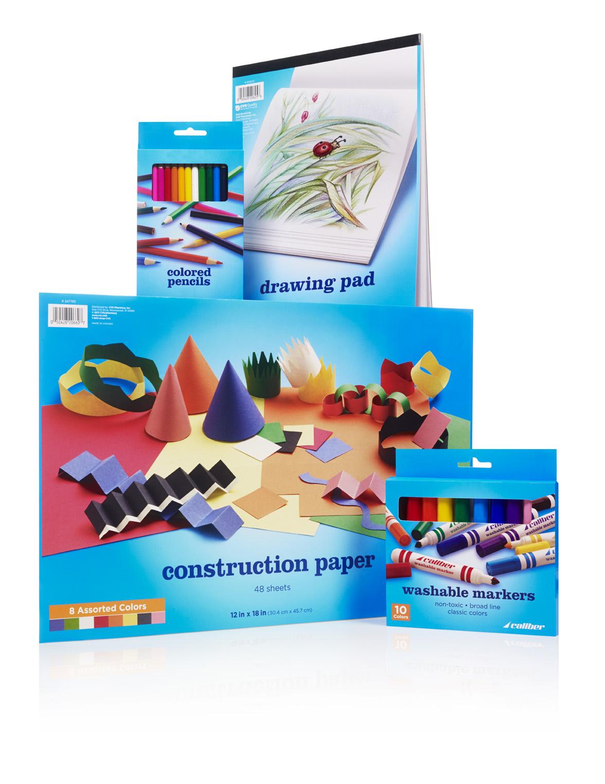 Caliber office and art suppliesrebranding developed for CVS/pharmacy.  Brand development and art direction.