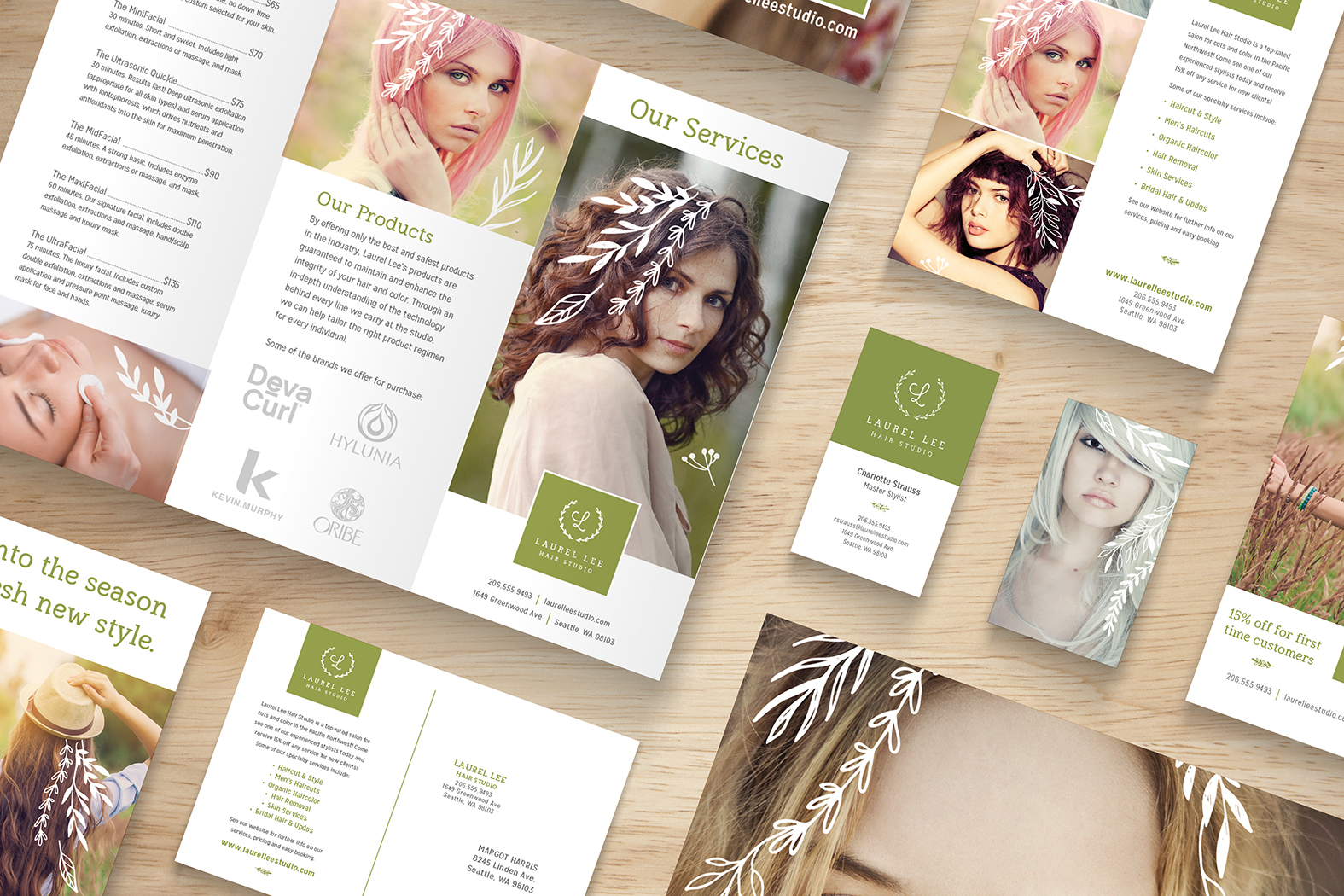 Laurel Lee Salon brand identity and marketing collateral developed for RPI product samples.