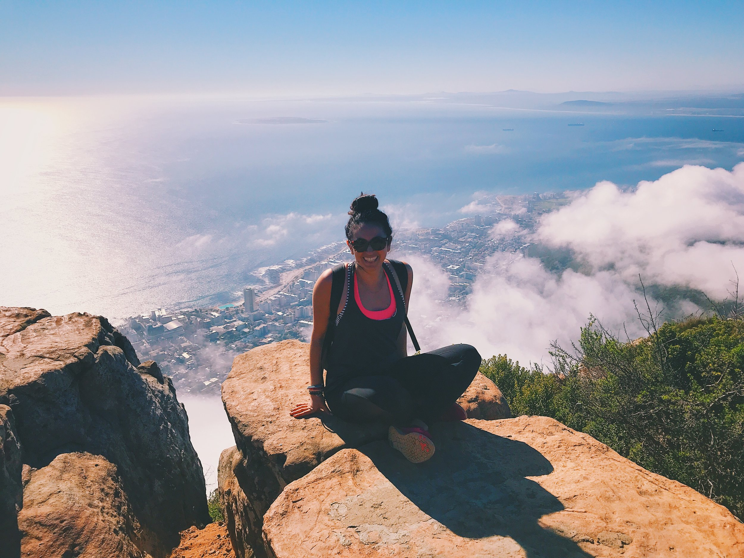 At the top of Lion's Head Mountain in Cape Town... perhaps not the safest meditation spot.