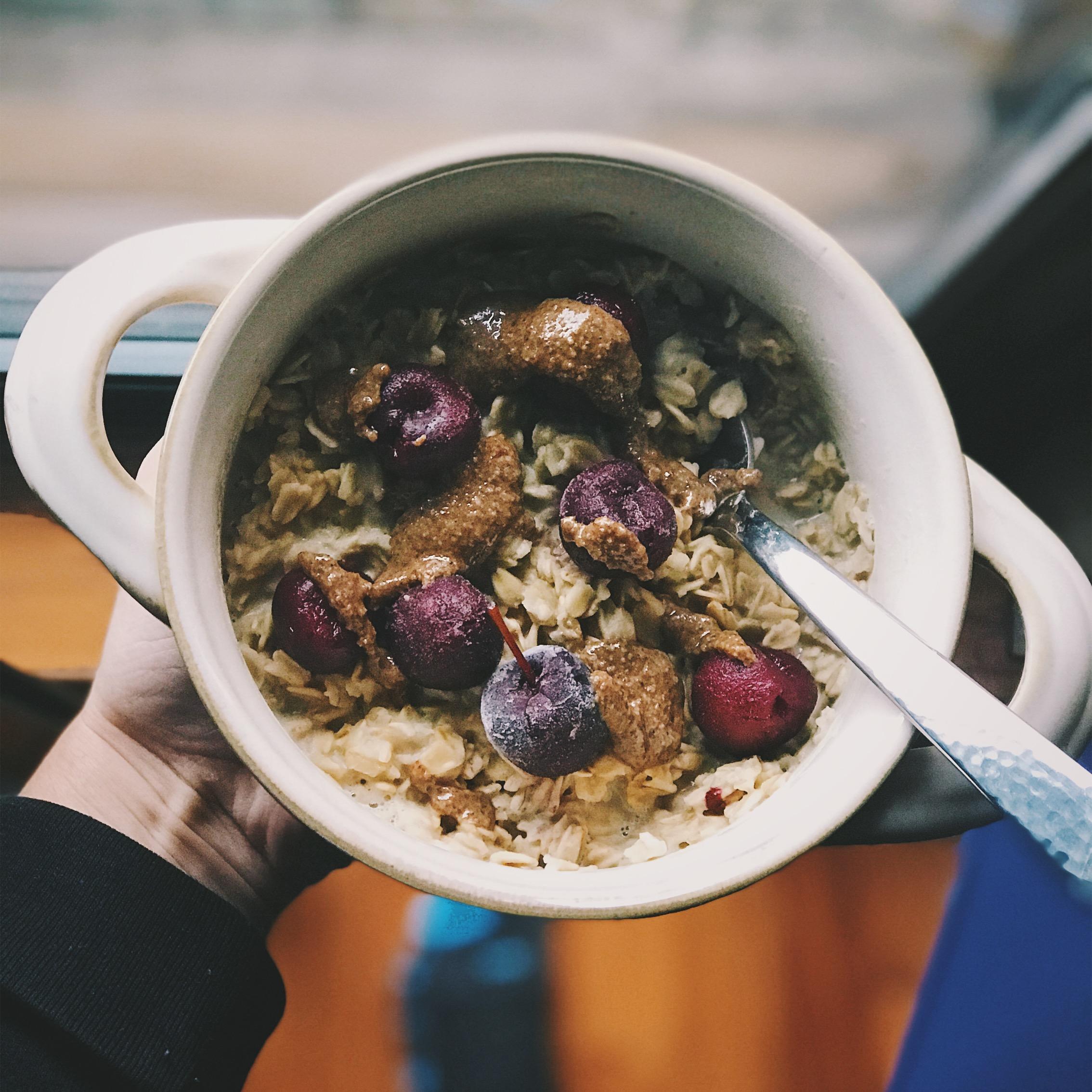 cherry vanilla oatmeal recipe with kween granola butter