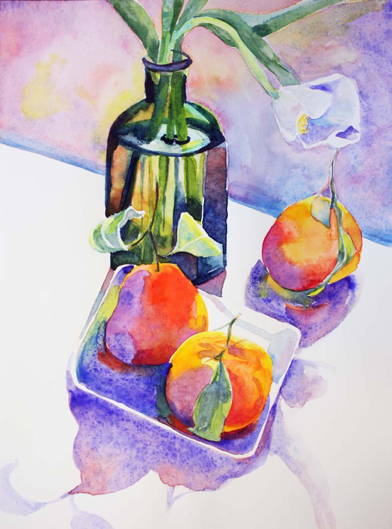 """""""Clementines with White Tulip I"""", 12"""" x 9"""", watercolor (available)"""