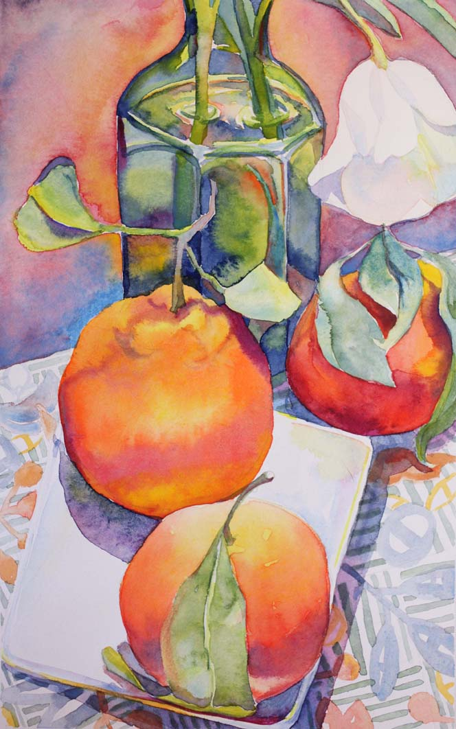 """""""Clementines with White Tulip II"""", 10.5"""" x 6"""", watercolor (available)"""