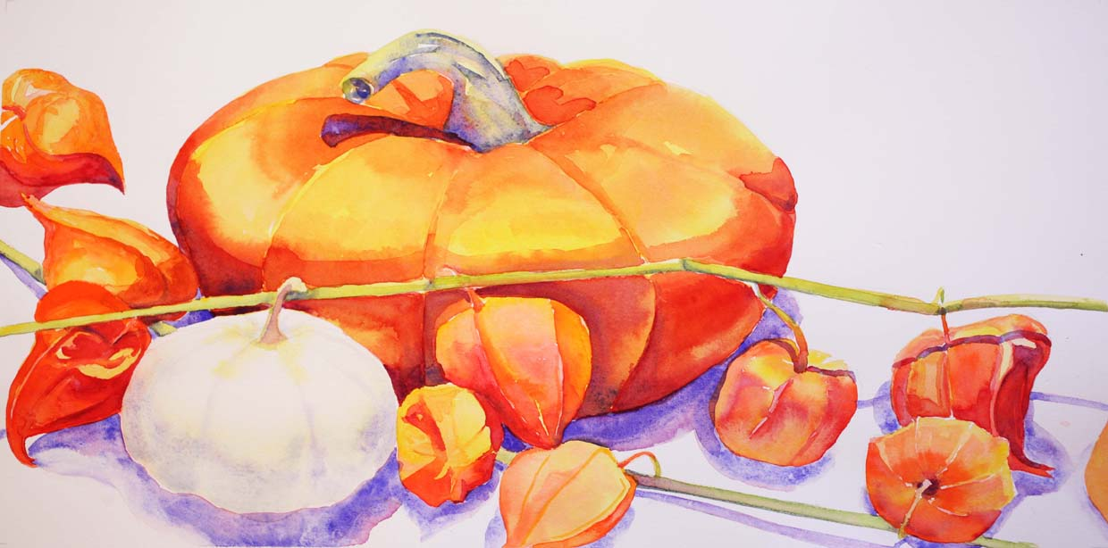 """""""Pumpkins and Chinese Lanterns I"""", 8"""" x 16"""", watercolor (available)"""