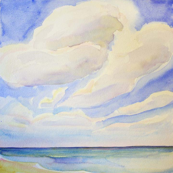 """""""Clouds/Water 1"""",  12"""" x 12"""", watercolor (available)"""