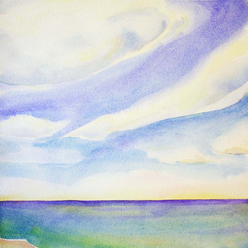 """""""Clouds/Water 2"""",  12"""" x 12"""", watercolor (available)"""