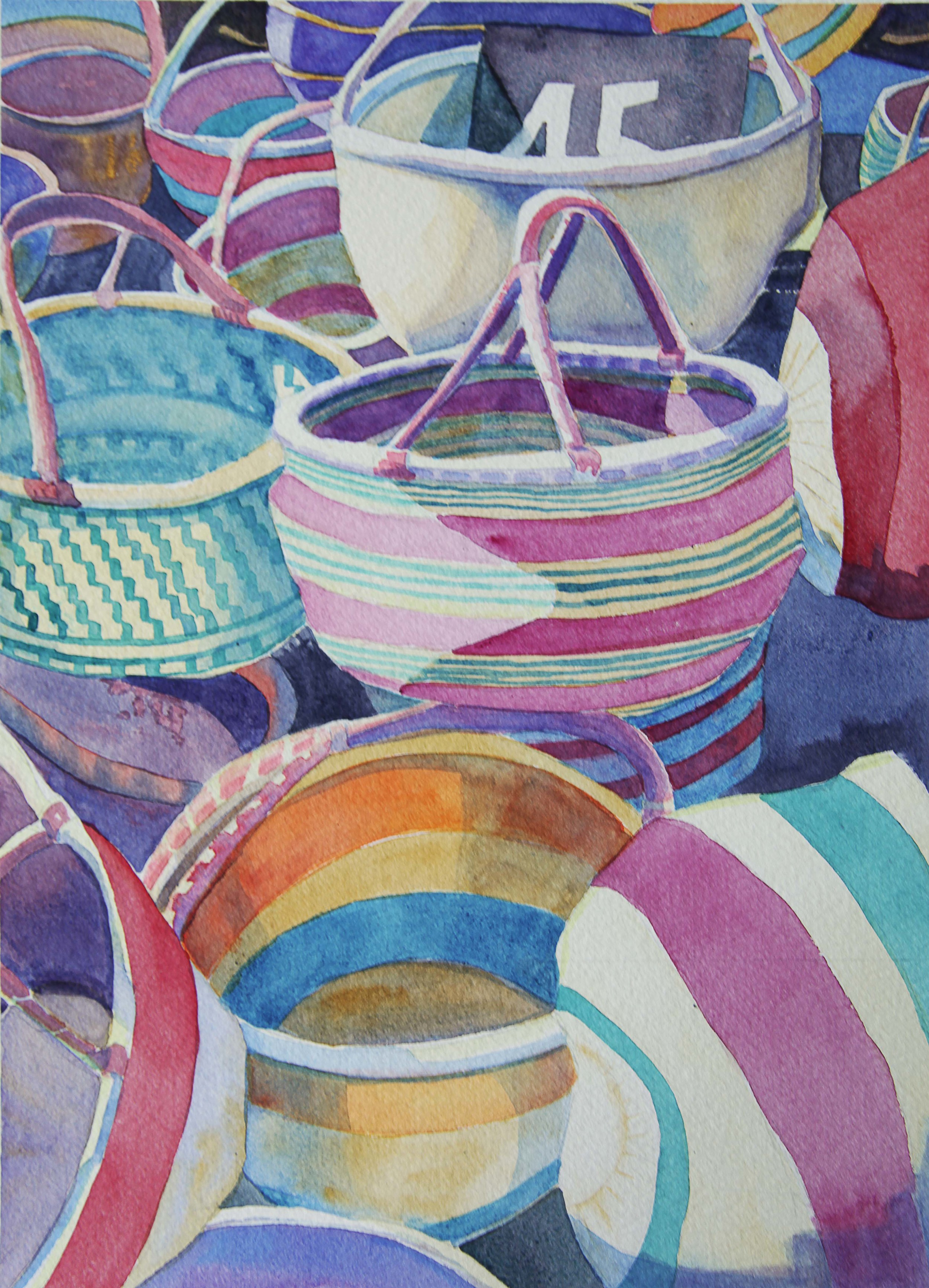 """""""Market Baskets"""", 14"""" x 10"""", watercolor (private collection)"""