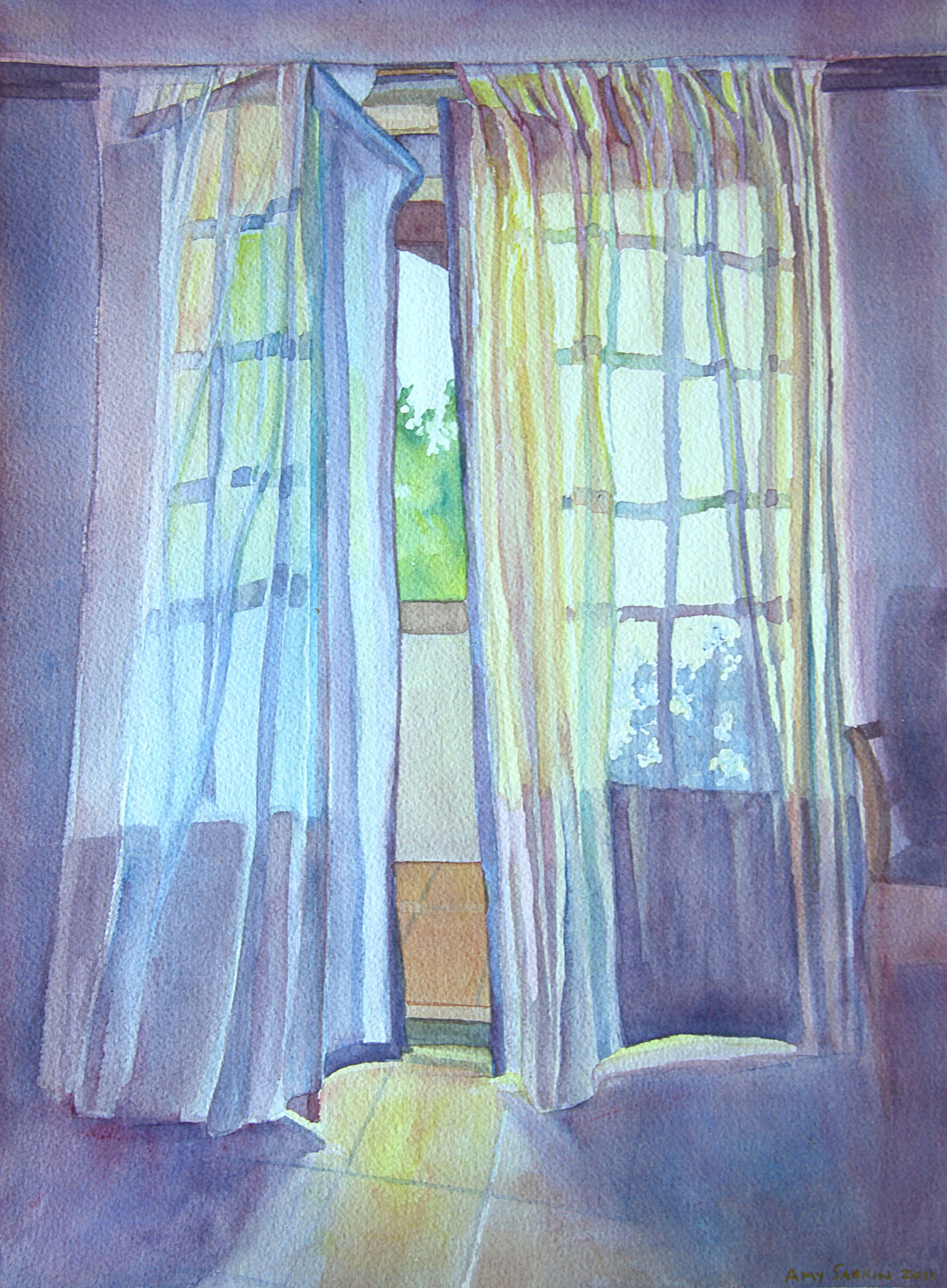 """""""The Guest Room, Les Bassacs"""", 16"""" x 12"""", watercolor (private collectoin)"""