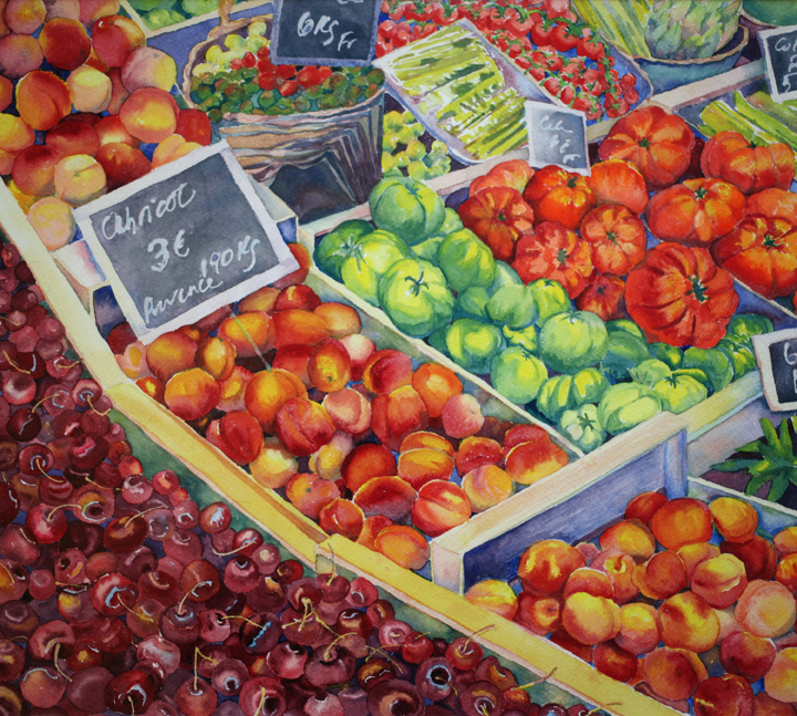 """""""Market Day, Apt"""", 14"""" X 16"""", watercolor (available)"""