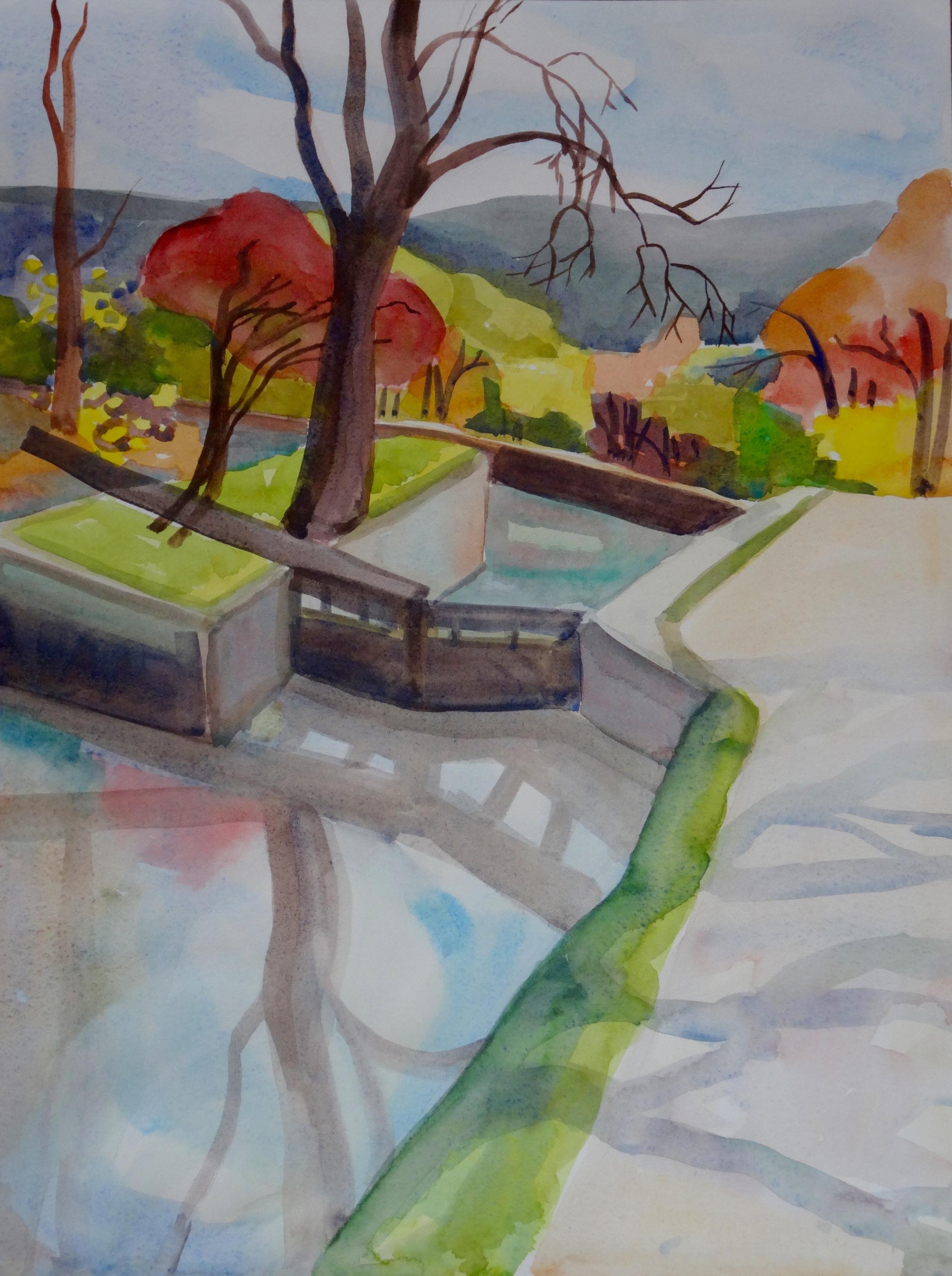 """C&O Canal at Great Falls, Late November, 16"""" x 12"""", watercolor"""