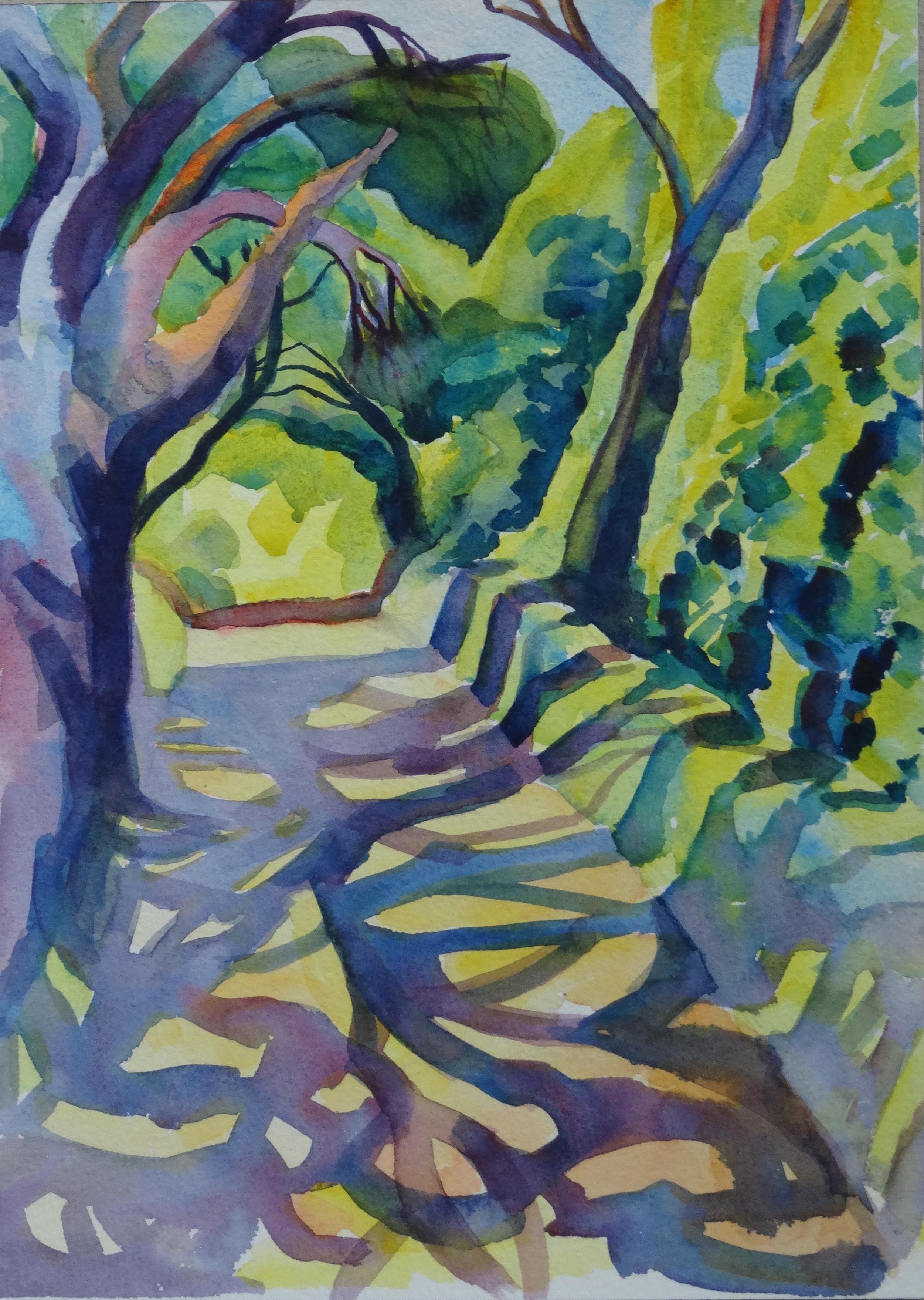 """Shadow Play, 16"""" x 12"""", watercolor (unavailable)"""